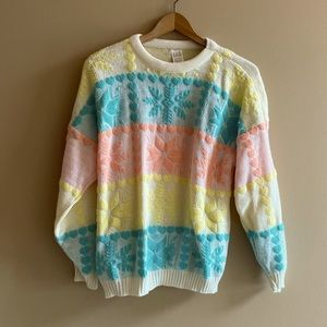 Vintage neon snowflake sweater SIZE M